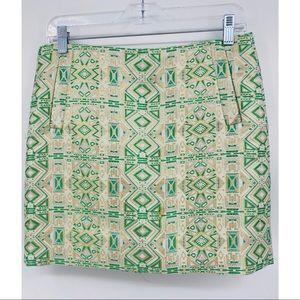 J crew metallic gold green skirt